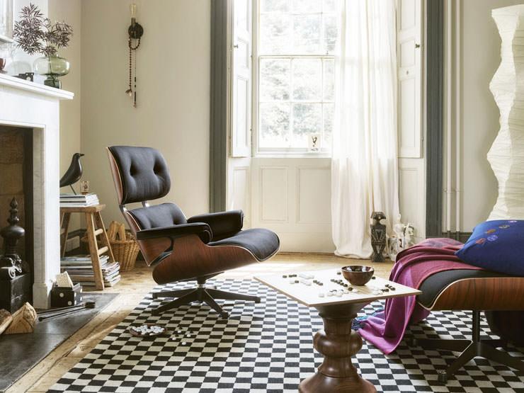 Espreguiçadeira Eames e Loja de Vitra Aram em Sarja Otomano