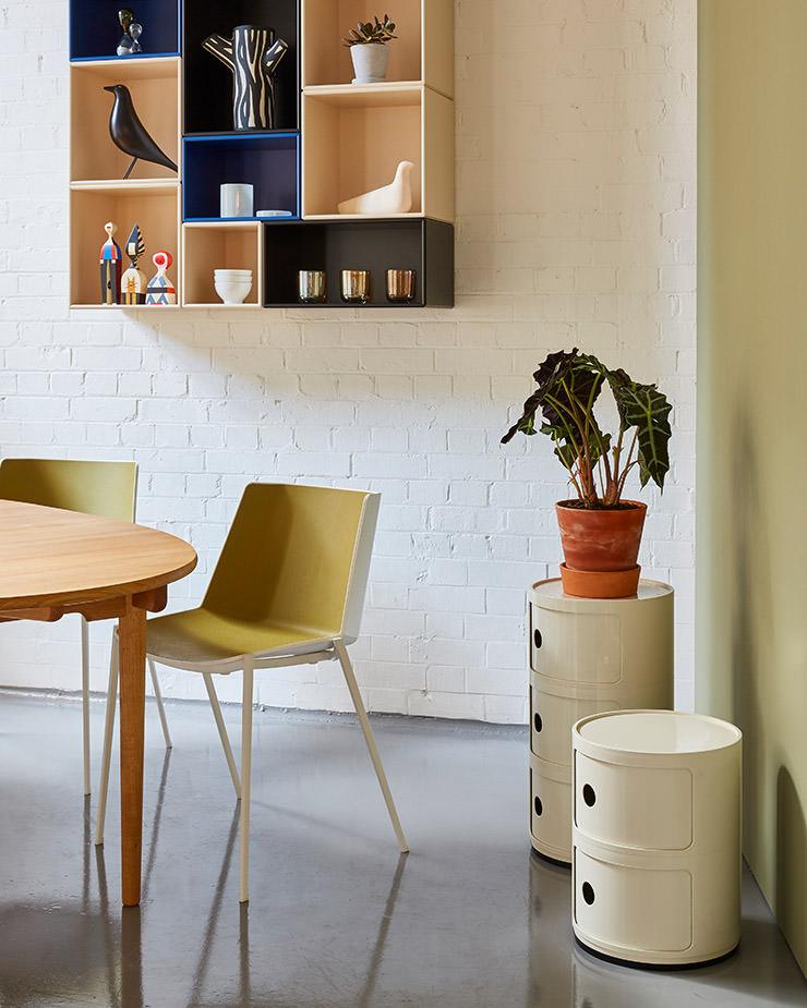 Aram Store mesas de jantar CH338 mesa Carl Hansen MDF Italia Aiku cadeira Kartell Componibili