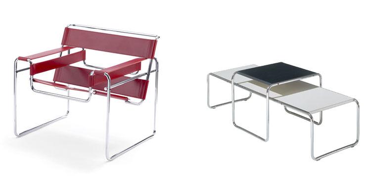 Mesas de cadeira Wassily e Laccio Knoll International Aram Store