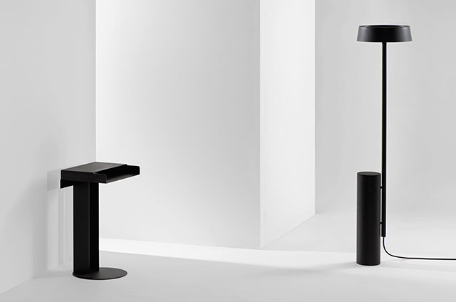 Meta table and December lamp by New Tendency