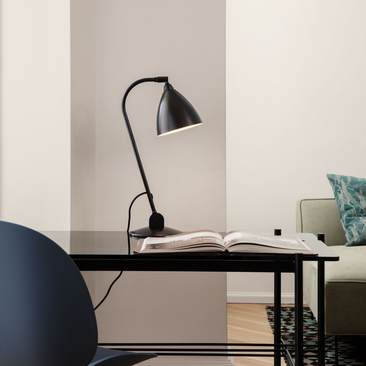 BL2 Table Lamp - black frame and bone china