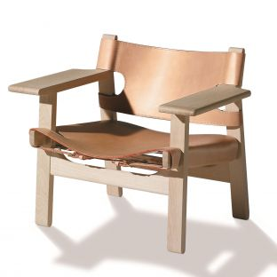 The Spanish Chair - Black Leather Smoked Oak