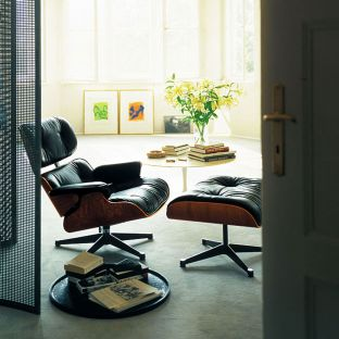 Eames Lounge Ottoman Santos by Charles and Ray Eames for Vitra - Aram Store
