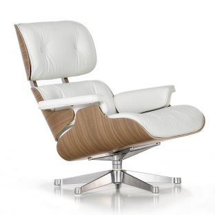 Eames Lounge Chair White Pigmented Walnut by Charles & Ray Eames for Vitra - Aram Store