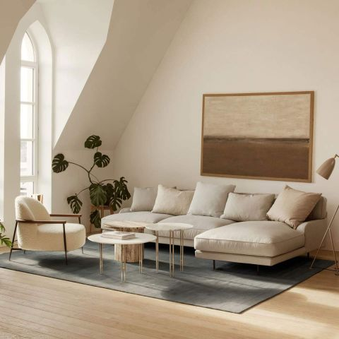 Flaneur 2 Seat Sofa with Chaise by Gam Fratesi from Gubi - Aram Store