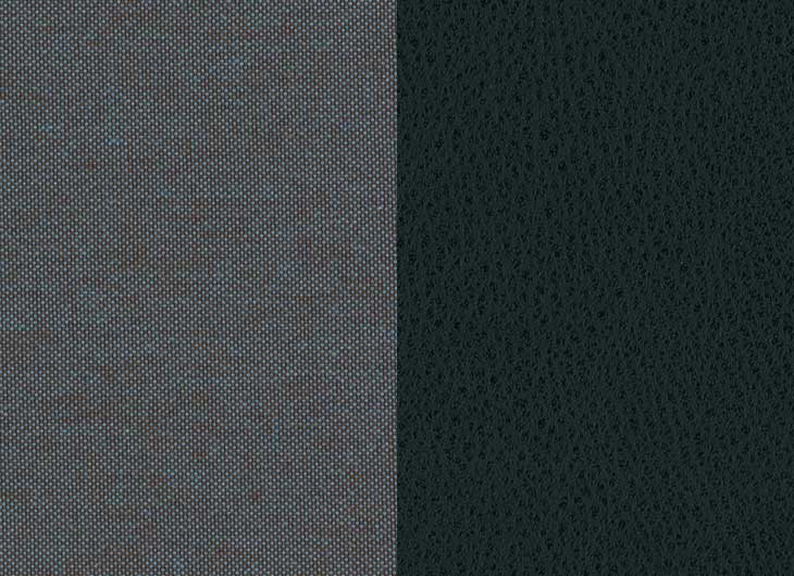 Grey Blue Quilt Black Leather Shell